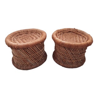 Mid Century Rush Reed & Rope Low Stools For Sale