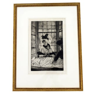 Vintage Antique James Tissot Histoire Ennuyeuse Etching Dated 1878 For Sale