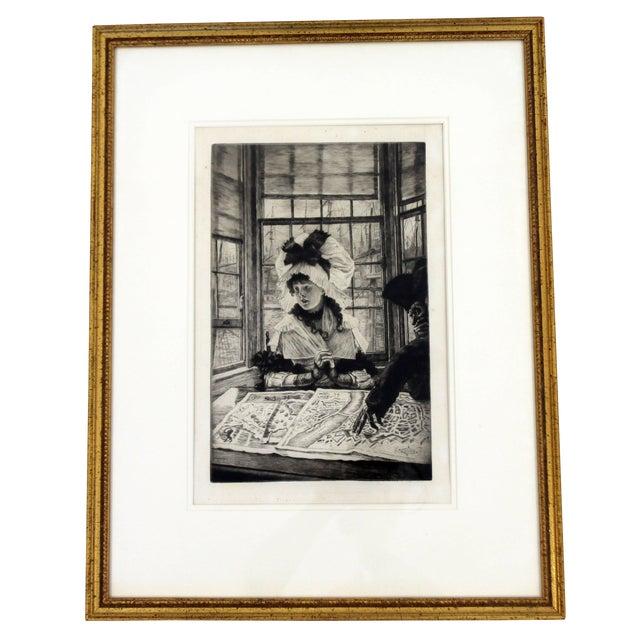 Vintage Antique James Tissot Histoire Ennuyeuse Etching Dated 1878 For Sale