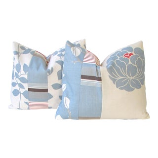 Romo Blue Color Blocked Floral Pillow Covers - a Pair For Sale