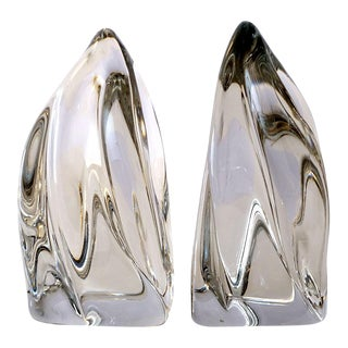 Vintage Daum France Flame Crystal Bookends-a Pair For Sale