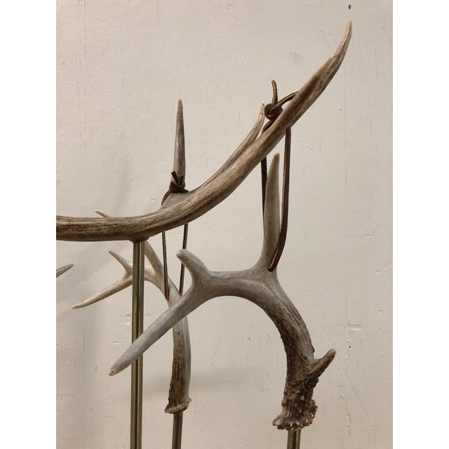 Country Custom Made Antler Fireplace Set For Sale - Image 3 of 11