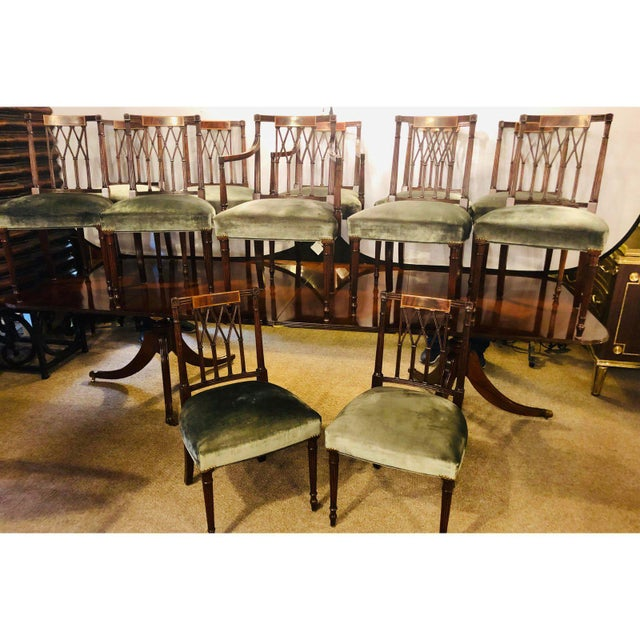 1930s Set of Twelve Sheridan Style Dining Chairs With New Upholstery For Sale - Image 5 of 13