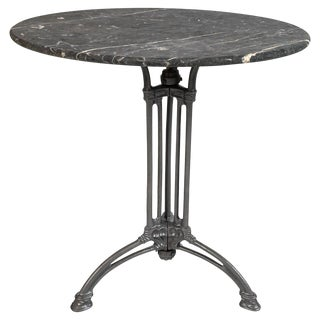 French Marble Top Cast Iron Bistro Table, Circa 1900 For Sale