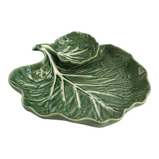 Vintage Bordallo Pinheiro Green Cabbage Majolica Serving Bowl For Sale
