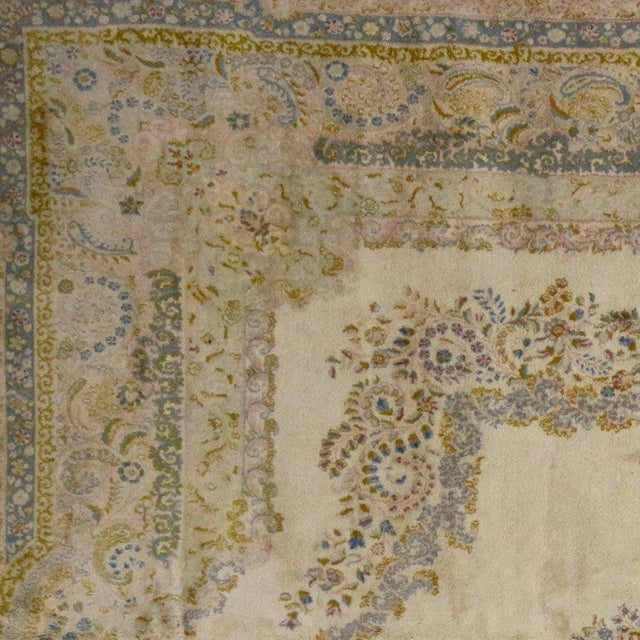 Antique Persian Kerman Rug with Traditional Style in Light Colors For Sale - Image 5 of 10