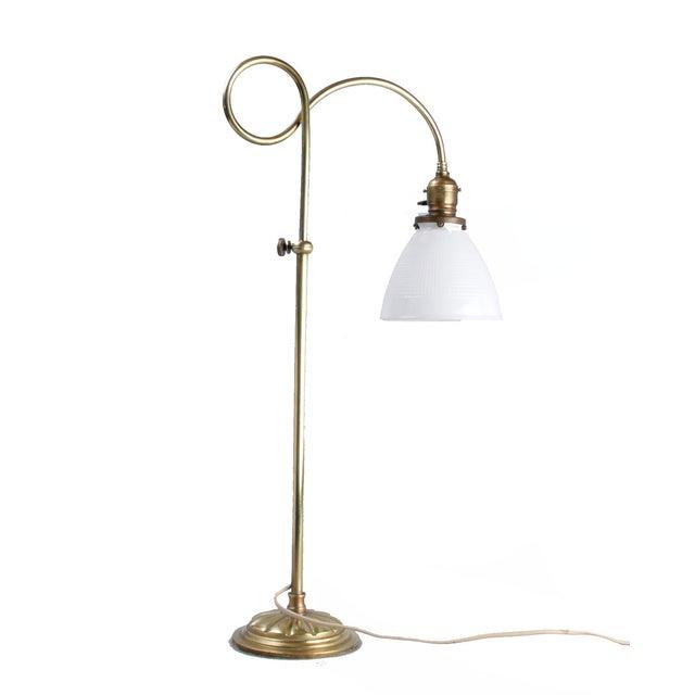 Brass Table Lamp W/ Milk Glass Globe - Image 1 of 10