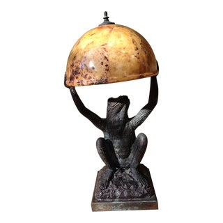 Vintage Hand Cast Bronze and Penshell Frog Lamp For Sale