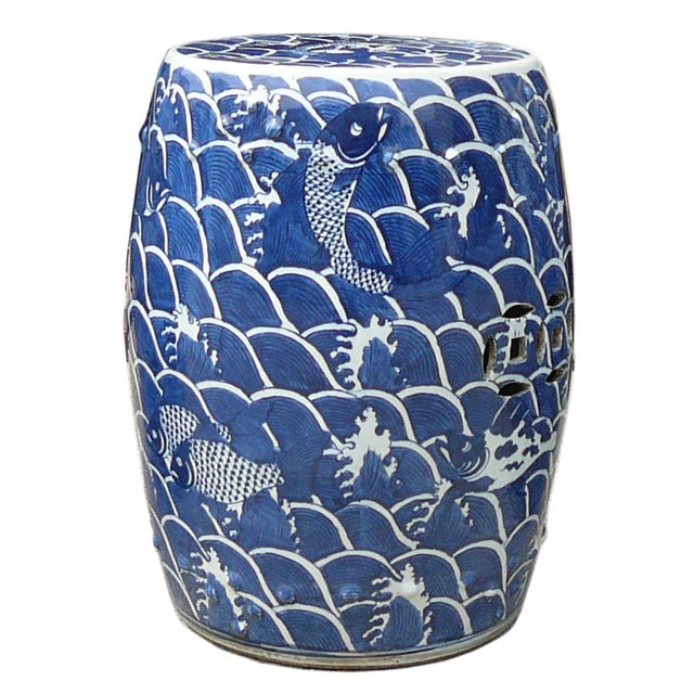 Blue And White Porcelain Round Fishes Stool Table - Image 1 of 6
