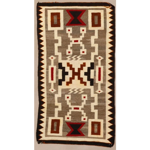 "Vintage Navajo Storm Pattern Rug - 2'8"" X 4'11"" For Sale In Phoenix - Image 6 of 6"