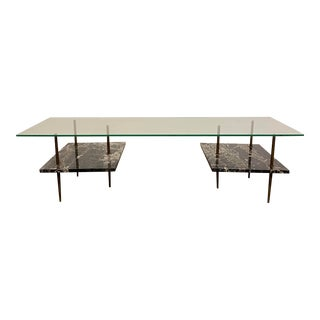 1960s Mid-Century Modern Black Marble Coffee Table For Sale