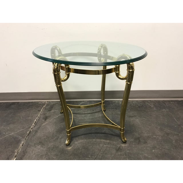 Glass Side End Lamp Coffee Table Lounge Low Occasional: Glass & Brass Oval Side / End / Accent Table
