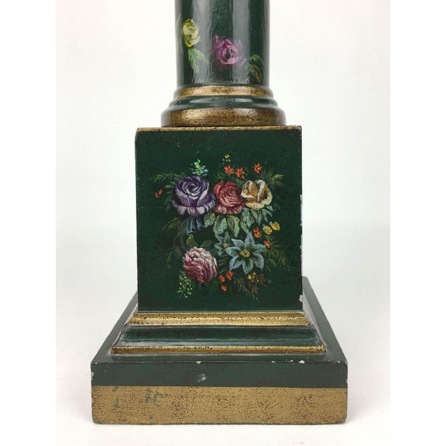1970s Botanical Motif Column Table Lamp For Sale - Image 5 of 7
