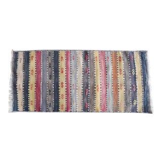 Vintage Striped Turkish Kilim Runner Rug 1′5″ × 3′1″ For Sale