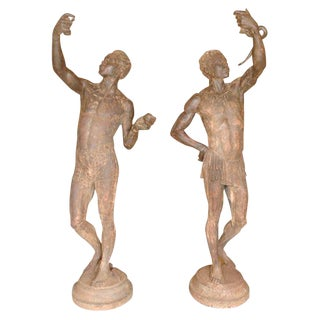 Life Size Pair French Cast Iron Figural Torcheres For Sale