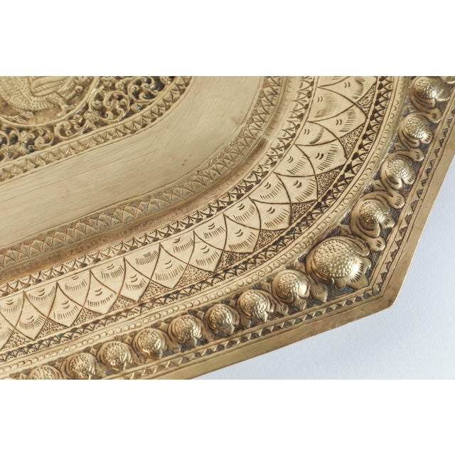 Metal Indo Persian Brass Charger Serving Tray For Sale - Image 7 of 9