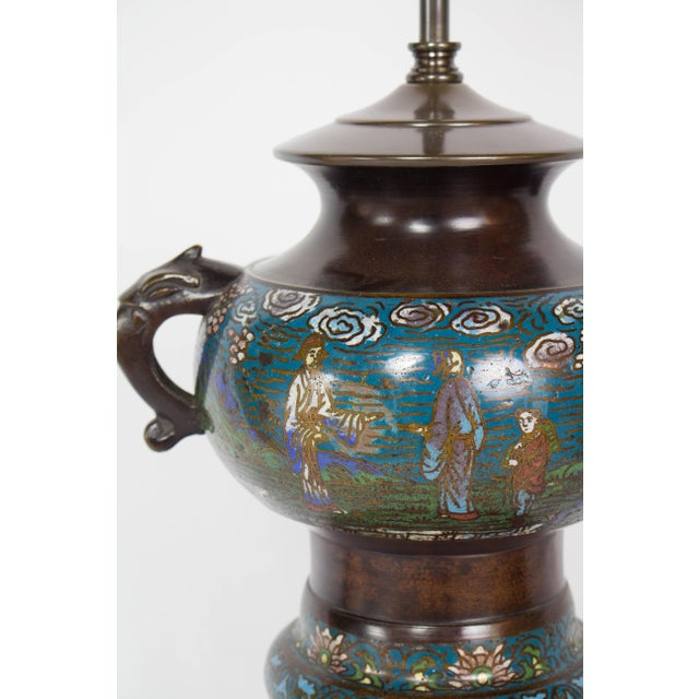 Restored Antique Champleve Table Lamp For Sale In Boston - Image 6 of 11