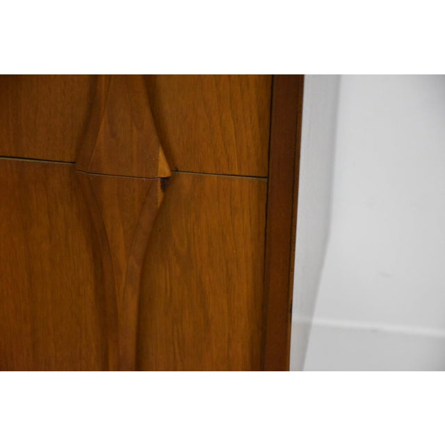 Mid-Century Modern Sculpted Walnut Long Dresser For Sale - Image 9 of 10