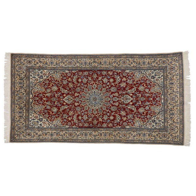 Vintage Persian Nain Rug With Traditional Style - 03'09 X 07'03 For Sale - Image 4 of 5
