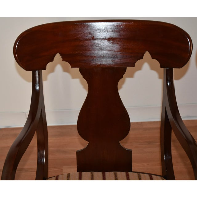 19th Century Antique Empire Solid Mahogany Dining Room Chairs- 6 Pieces For Sale - Image 4 of 13