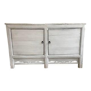 Antique Asian White Wood 2 Door Low Cabinet