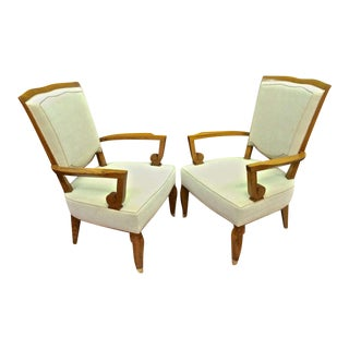 Jules Leleu Stamped 1940s Majestic Pair of Large and Comfortable Pair of Chair For Sale