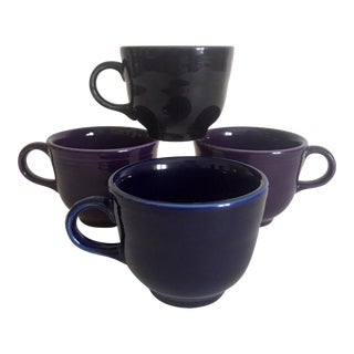 Vintage Fiesta Ware Homer Laughlin Dark Multicolor Teacup Mugs - Set of 4 For Sale