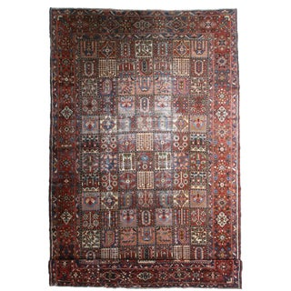 Antique Hand Knotted Wool Persian Baktiari Rug - 10′5″ × 16′3″ For Sale