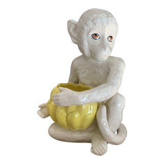 Italian 1970s Ceramic Monkey Figure With Bowl For Sale