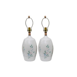 Floral White Ceramic Lamps, a Pair For Sale