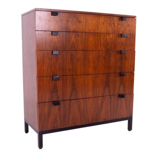 Mid Century Milo Baughman for Directional Walnut 5 Drawer Highboy Dresser For Sale