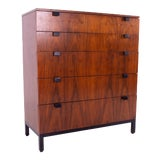 Image of Milo Baughman for Directional Mid Century Walnut 5 Drawer Highboy Dresser For Sale
