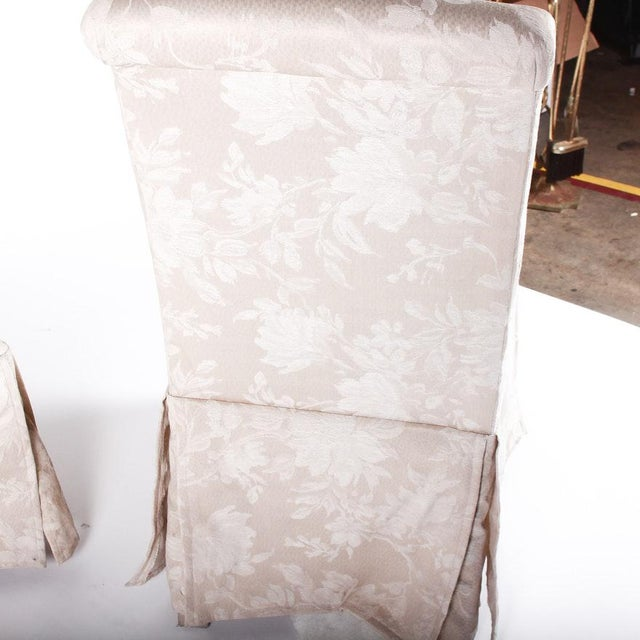 Contemporary Off White Upholstered High Back Skirted Parsons Chairs - a Pair For Sale In Palm Springs - Image 6 of 9