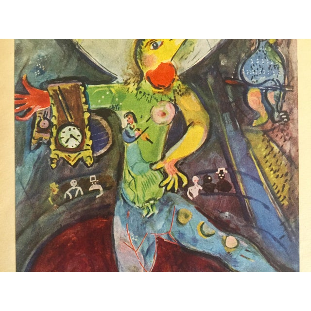 """Tribal Marc Chagall Vintage 1947 Rare Limited Edition French Lithograph Print """" L' Acrobate """" For Sale - Image 3 of 12"""
