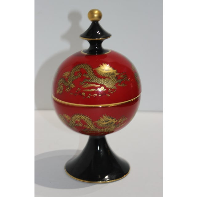 Unusual Chinese Emperor Dragon Motif Red Terra Cotta Footed Round Box from Heygill Italy from a Palm Beach Estate. Note,...