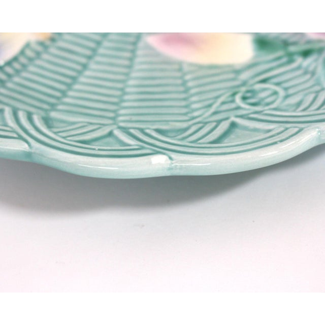 Teal 80's Majolica Luncheon or Dessert Tea Set, Morning Glory Pattern Set of 11 For Sale - Image 8 of 11