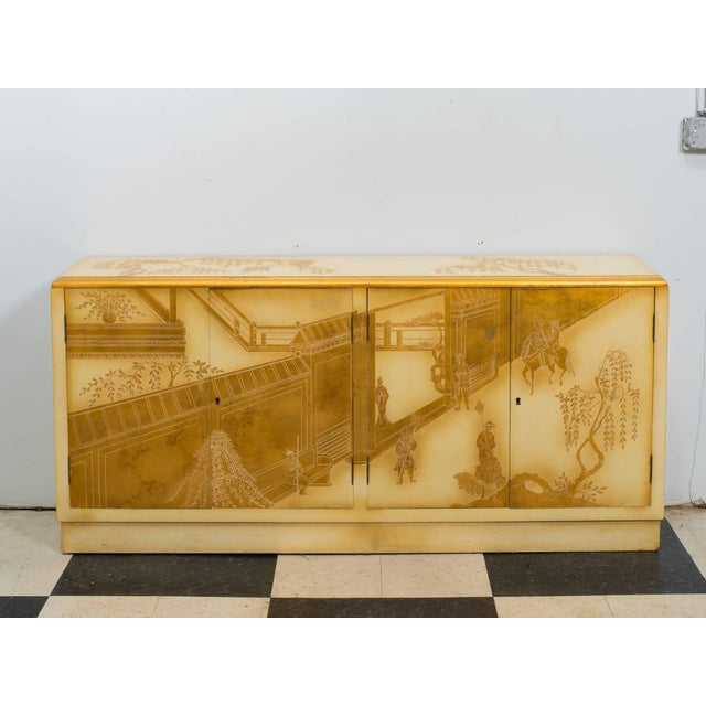 Wood Painted Chinoiserie Credenza For Sale - Image 7 of 10