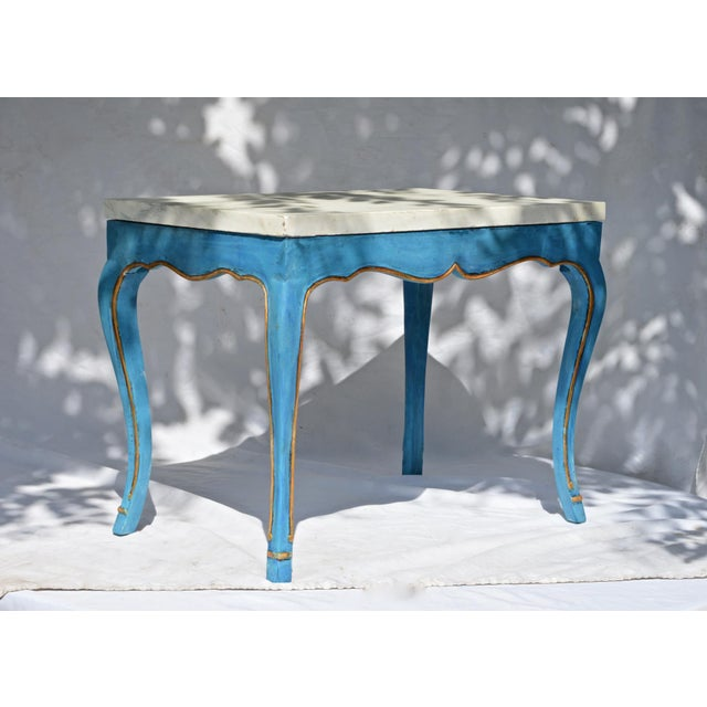 Italian Marble Top Cocktail Table in the Louis XV Style With Hoof Feet For Sale - Image 6 of 9