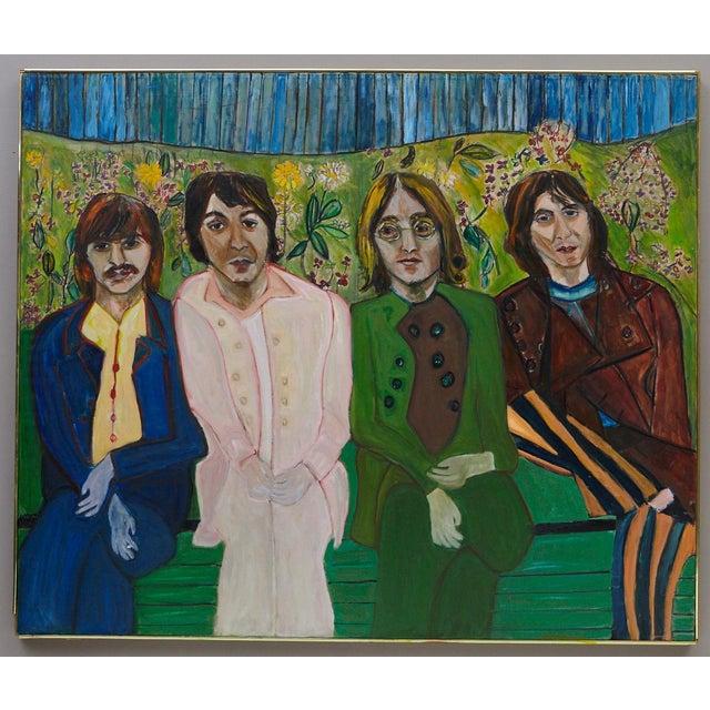 Wyona Diskin, American (1915 - 1991) John Paul George & Ringo Acrylic on canvas, Unsigned. Framed. Measurements: Frame H...
