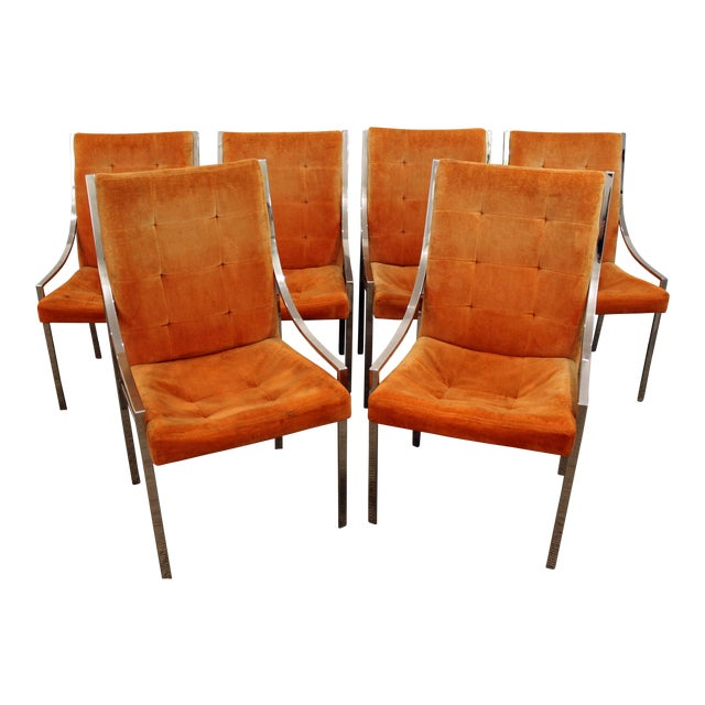 Milo Baughman Dillingham Mid-Century Danish Modern Chrome Dining Chairs - Set of 6 For Sale