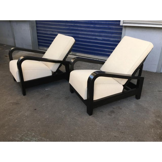 Contemporary Pair of France 50s Exceptional Leaning Comfy Lounge Chairs Fully Restored For Sale - Image 3 of 8