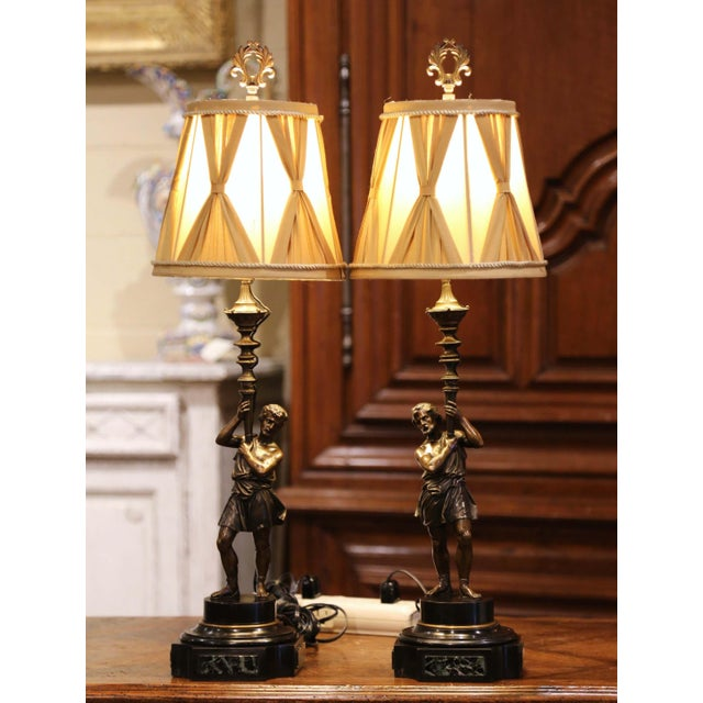Metal Pair of 19th Century French Patinated Bronze and Marble Figural Table Lamps For Sale - Image 7 of 13