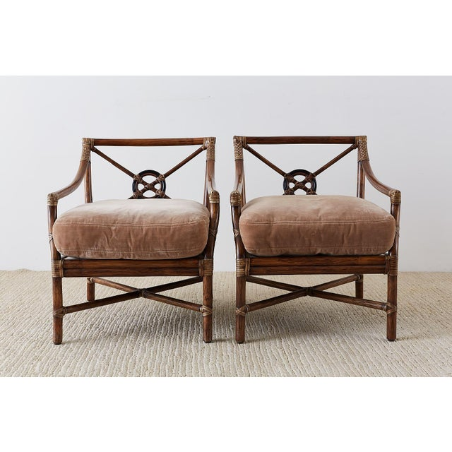 Contemporary Pair of McGuire Bamboo Rattan Target Lounge Chairs For Sale - Image 3 of 13