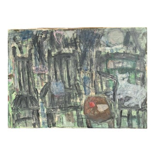 """Mid Century Abstract Painting """"Cat"""" Nyc Artist Sylvia Rutkoff For Sale"""