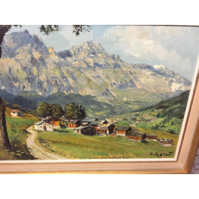 Village Mountain Scene Oil Painting Signed E Rosset For Sale In San Francisco - Image 6 of 10