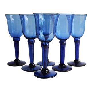 Blue Wine Glasses, Set of 6