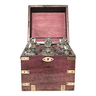 English Victorian Mahogany Tantalus Set Case For Sale