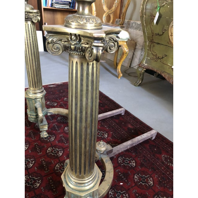 C. 1900 Neo Classical Brass Pillar Fireplace Andirons - a Pair For Sale - Image 12 of 13