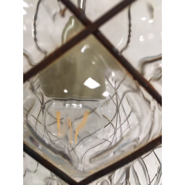 Transparent Vintage Clear Murano Baloton Style Glass Single Light Pendant For Sale - Image 8 of 10