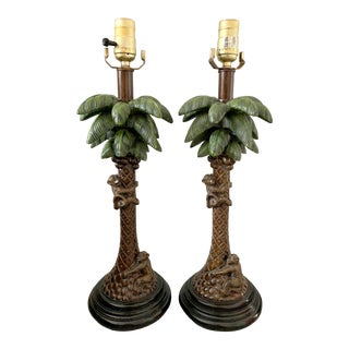 Vintage Chinoiserie Monkeys Climbing Coconut Palms Trees Lamps - a Pair For Sale